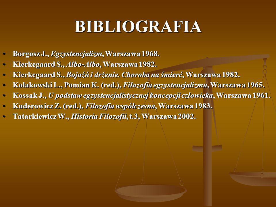 BIBLIOGRAFIA Borgosz J., Egzystencjalizm, Warszawa 1968.Borgosz J., Egzystencjalizm, Warszawa 1968. Kierkegaard S., Albo-Albo, Warszawa 1982.Kierkegaa