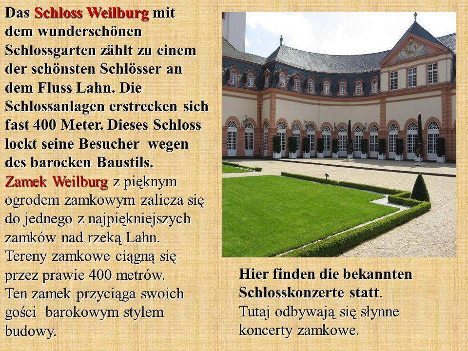 Das Schloss Weilburg mit dem wunderschönen Schlossgarten zählt zu einem der schönsten Schlösser an dem Fluss Lahn. Die Schlossanlagen erstrecken sich