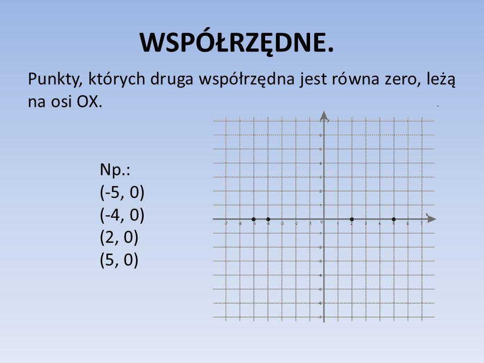 WSPÓŁRZĘDNE. Punkty, których druga współrzędna jest równa zero, leżą na osi OX. Np.: (-5, 0) (-4, 0) (2, 0) (5, 0)