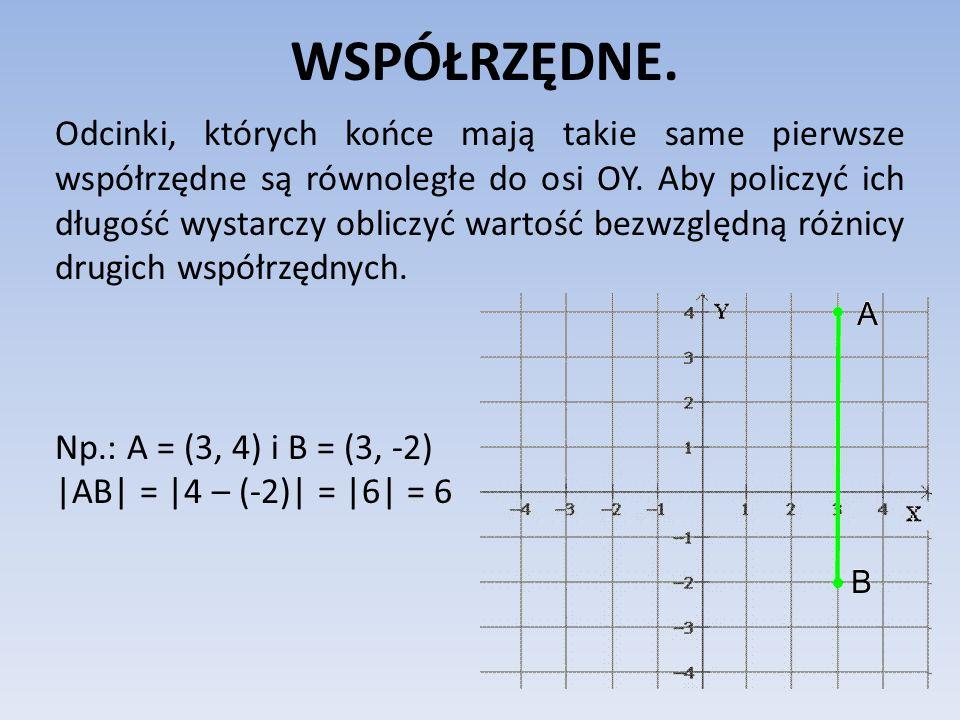 WSPÓŁRZĘDNE. Odcinki, których końce mają takie same pierwsze współrzędne są równoległe do osi OY. Aby policzyć ich długość wystarczy obliczyć wartość