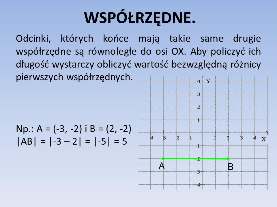WSPÓŁRZĘDNE. Odcinki, których końce mają takie same drugie współrzędne są równoległe do osi OX. Aby policzyć ich długość wystarczy obliczyć wartość be