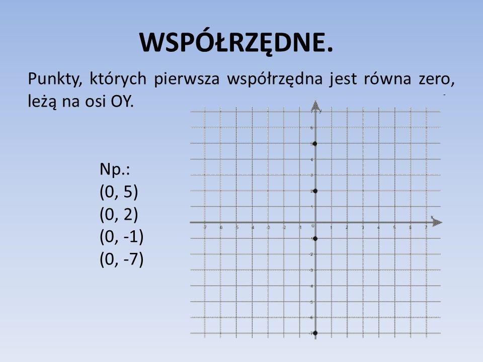WSPÓŁRZĘDNE. Punkty, których pierwsza współrzędna jest równa zero, leżą na osi OY. Np.: (0, 5) (0, 2) (0, -1) (0, -7)