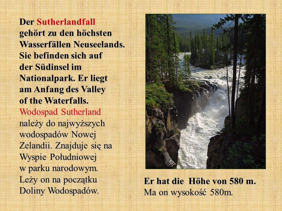 Der Sutherlandfall gehört zu den höchsten Wasserfällen Neuseelands. Sie befinden sich auf der Südinsel im Nationalpark. Er liegt am Anfang des Valley