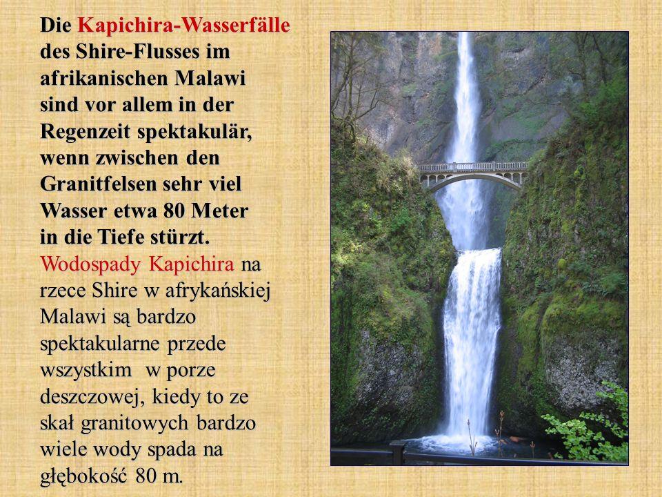 Die Kapichira-Wasserfälle des Shire-Flusses im afrikanischen Malawi sind vor allem in der Regenzeit spektakulär, wenn zwischen den Granitfelsen sehr v