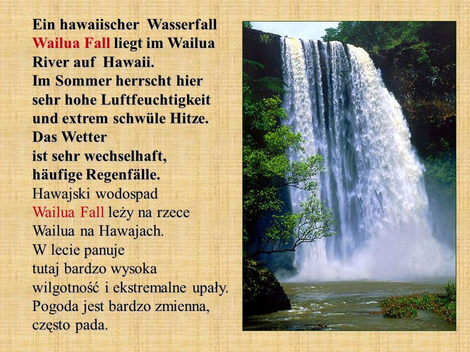 Ein hawaiischer Wasserfall Wailua Fall liegt im Wailua River auf Hawaii. Im Sommer herrscht hier sehr hohe Luftfeuchtigkeit und extrem schwüle Hitze.
