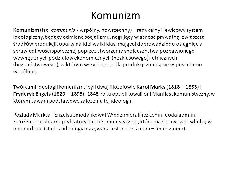 Komunizm – wizja człowieka i społeczeństwa Doktryna komunistyczna głosiła, że socjalizm wyeliminuje własność prywatną, wszyscy obywatele staną się najemnymi pracownikami i robotnikami jednego powszechnego syndykatu państwowego.