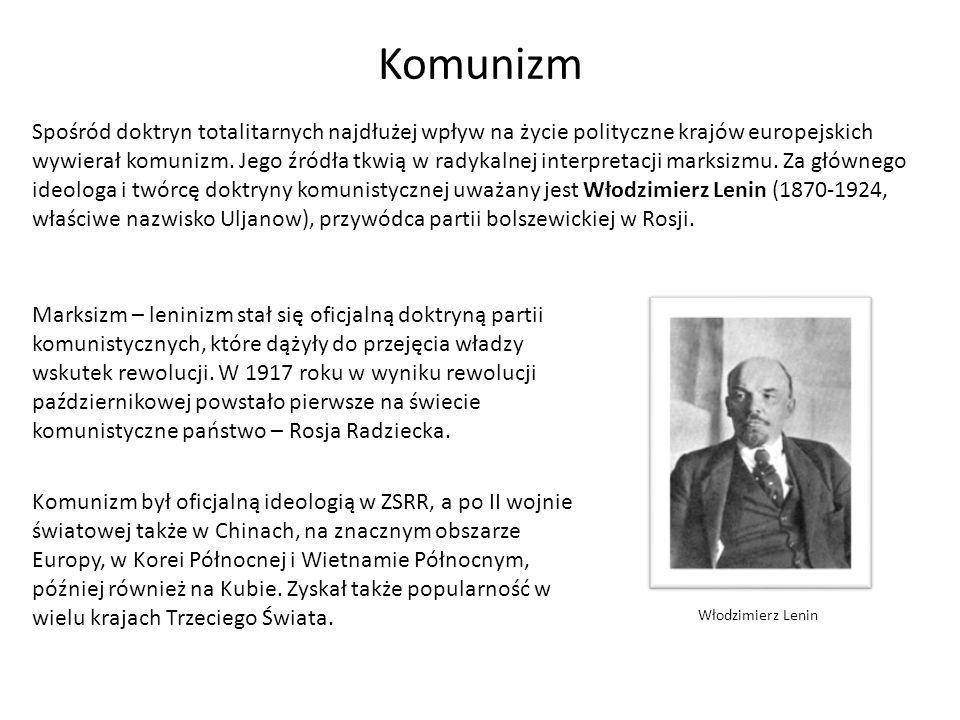 Komunizm Podstawą doktryny komunistycznej jest koncepcja partii nowego typu, która pokieruje rewolucją, a następnie budową nowego społeczeństwa.