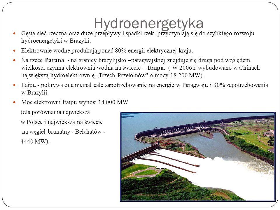 Hydroenergetyka Gęsta sieć rzeczna oraz duże przepływy i spadki rzek, przyczyniają się do szybkiego rozwoju hydroenergetyki w Brazylii. Elektrownie wo