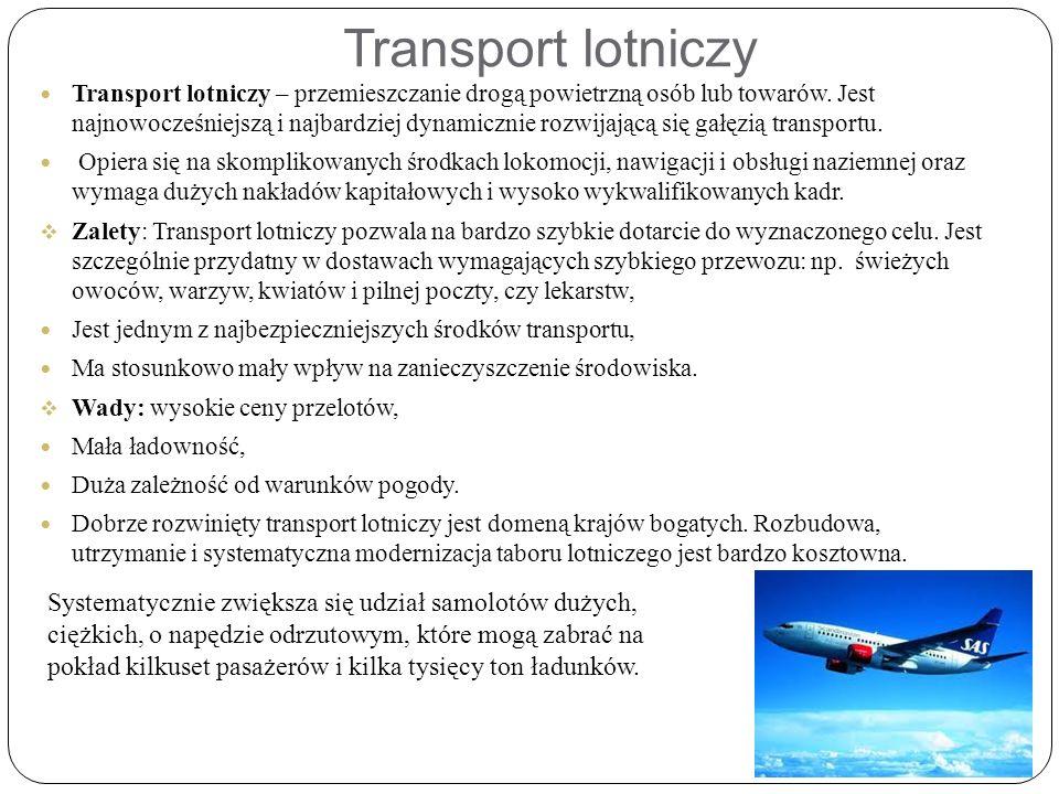 Transport lotniczy Transport lotniczy – przemieszczanie drogą powietrzną osób lub towarów.