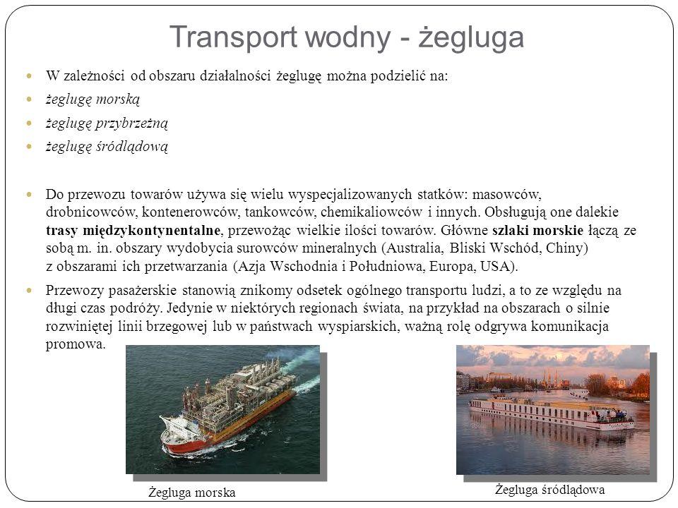 Transport wodny - żegluga W zależności od obszaru działalności żeglugę można podzielić na: żeglugę morską żeglugę przybrzeżną żeglugę śródlądową Do przewozu towarów używa się wielu wyspecjalizowanych statków: masowców, drobnicowców, kontenerowców, tankowców, chemikaliowców i innych.
