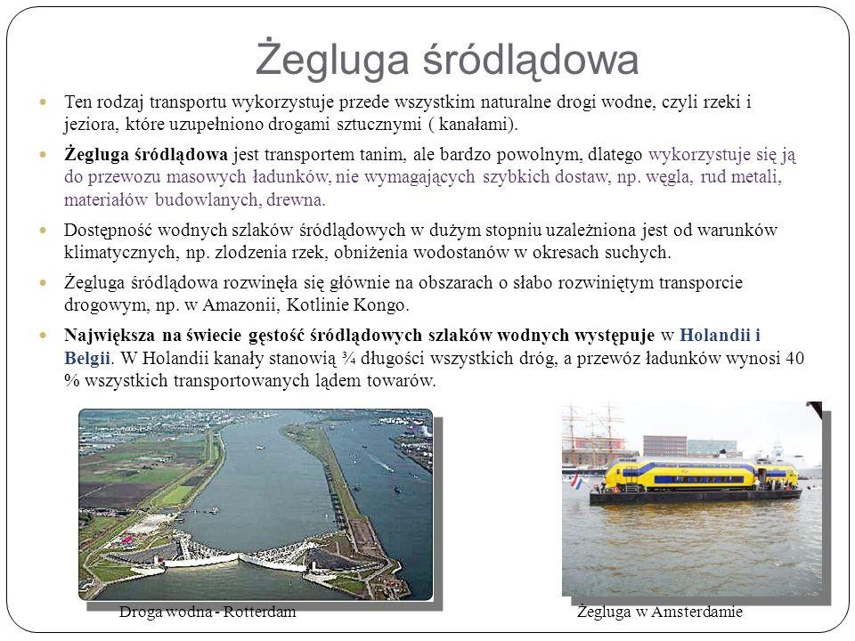 Ten rodzaj transportu wykorzystuje przede wszystkim naturalne drogi wodne, czyli rzeki i jeziora, które uzupełniono drogami sztucznymi ( kanałami).
