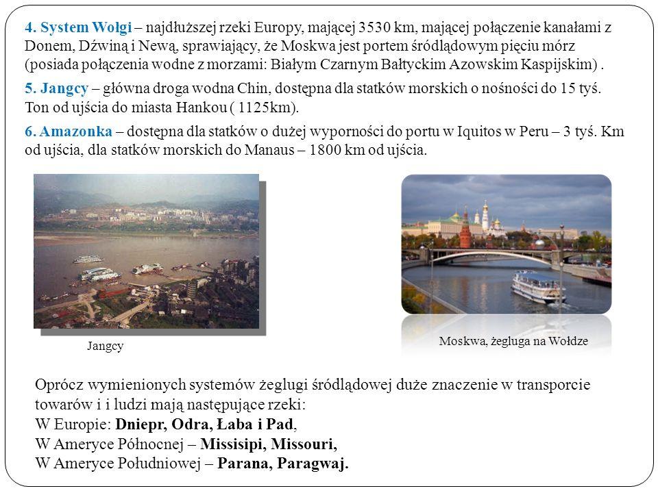 4. System Wołgi – najdłuższej rzeki Europy, mającej 3530 km, mającej połączenie kanałami z Donem, Dźwiną i Newą, sprawiający, że Moskwa jest portem śr