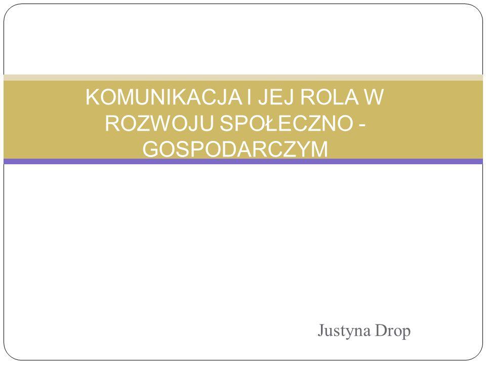 Justyna Drop KOMUNIKACJA I JEJ ROLA W ROZWOJU SPOŁECZNO - GOSPODARCZYM