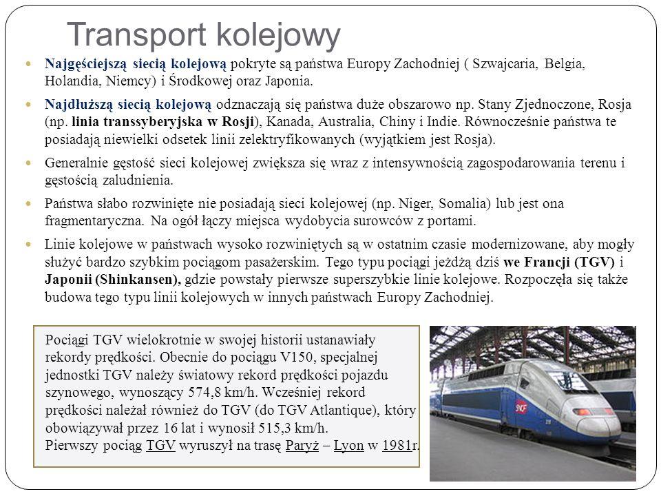 Transport kolejowy Najgęściejszą siecią kolejową pokryte są państwa Europy Zachodniej ( Szwajcaria, Belgia, Holandia, Niemcy) i Środkowej oraz Japonia.
