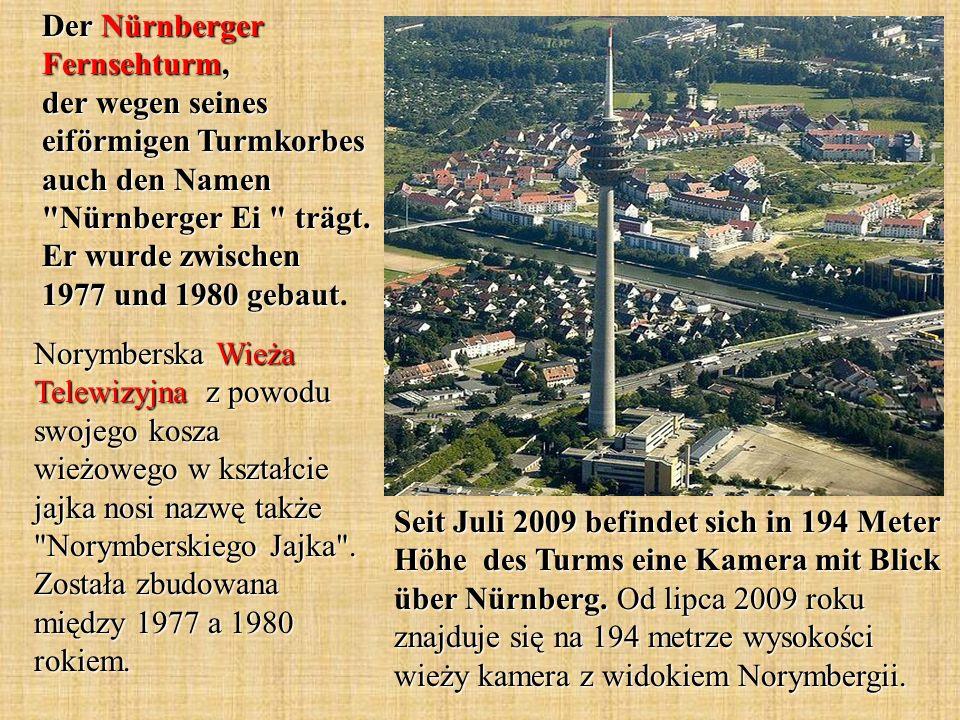 Der Nürnberger Fernsehturm, der wegen seines eiförmigen Turmkorbes auch den Namen Nürnberger Ei trägt.