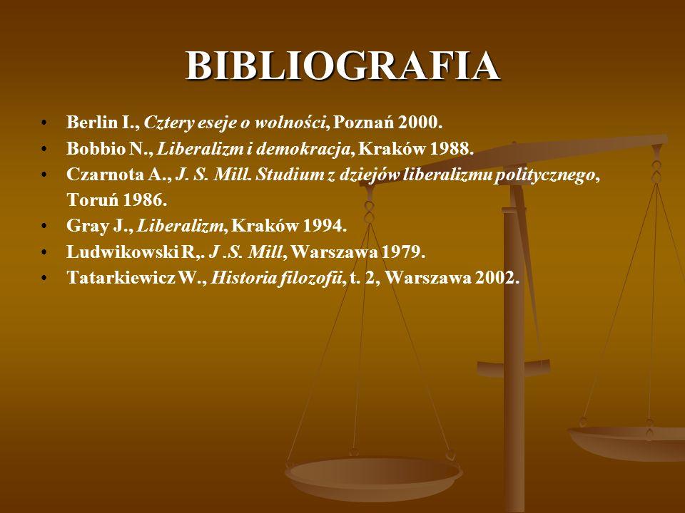 BIBLIOGRAFIA Berlin I., Cztery eseje o wolności, Poznań 2000. Bobbio N., Liberalizm i demokracja, Kraków 1988. Czarnota A., J. S. Mill. Studium z dzie