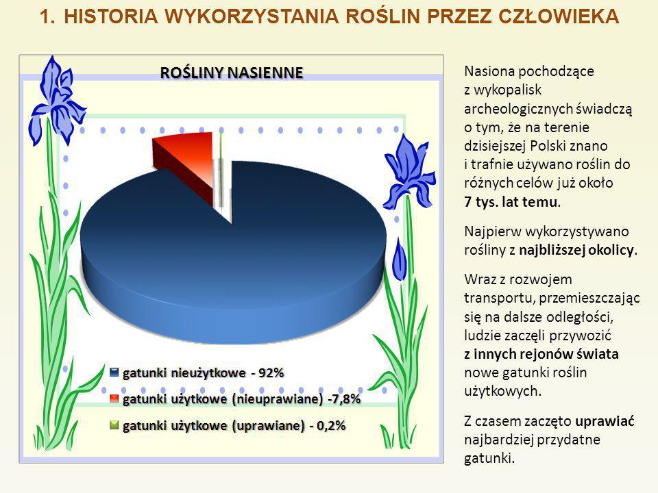 1.HISTORIA WYKORZYSTANIA ROŚLIN PRZEZ CZŁOWIEKA Nasiona pochodzące z wykopalisk archeologicznych świadczą o tym, że na terenie dzisiejszej Polski znan