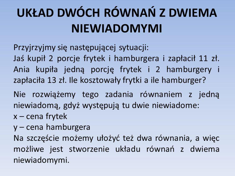UKŁAD DWÓCH RÓWNAŃ Z DWIEMA NIEWIADOMYMI Przyjrzyjmy się następującej sytuacji: Jaś kupił 2 porcje frytek i hamburgera i zapłacił 11 zł. Ania kupiła j