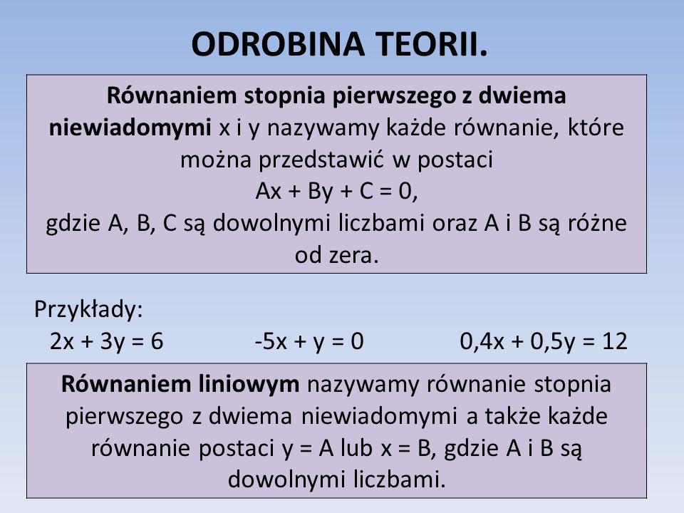 ODROBINA TEORII. Równaniem stopnia pierwszego z dwiema niewiadomymi x i y nazywamy każde równanie, które można przedstawić w postaci Ax + By + C = 0,