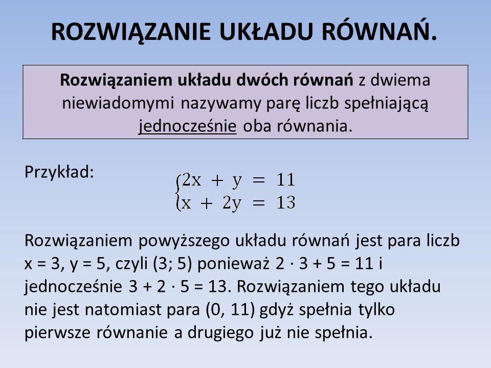 ROZWIĄZANIE UKŁADU RÓWNAŃ. Rozwiązaniem układu dwóch równań z dwiema niewiadomymi nazywamy parę liczb spełniającą jednocześnie oba równania. Przykład: