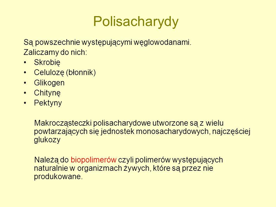Polisacharydy Są powszechnie występującymi węglowodanami. Zaliczamy do nich: Skrobię Celulozę (błonnik) Glikogen Chitynę Pektyny Makrocząsteczki polis