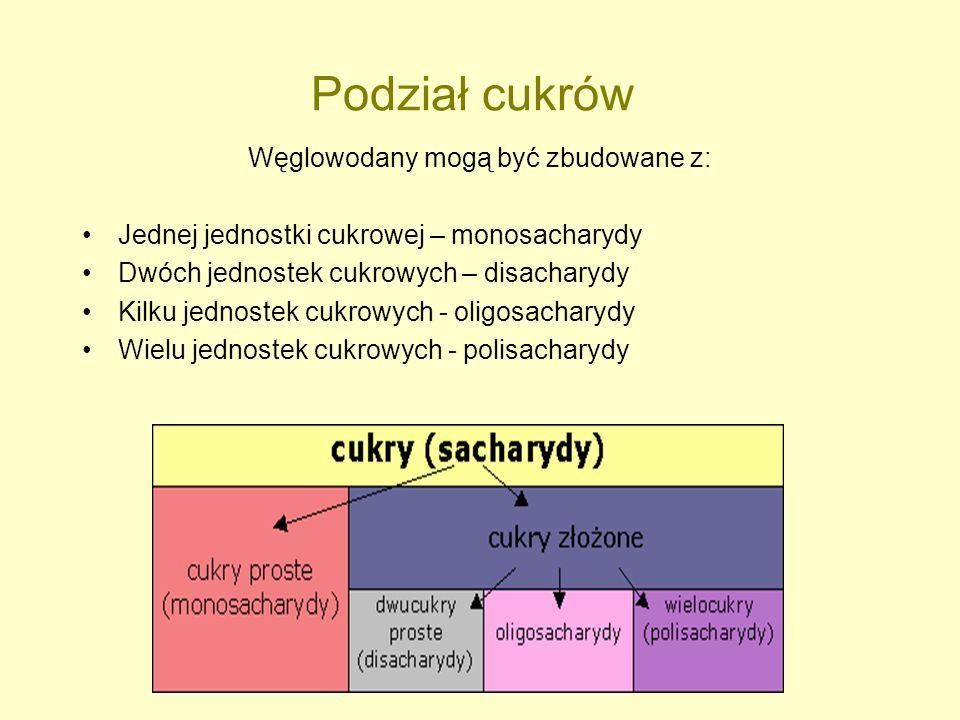 Podział cukrów Węglowodany mogą być zbudowane z: Jednej jednostki cukrowej – monosacharydy Dwóch jednostek cukrowych – disacharydy Kilku jednostek cuk