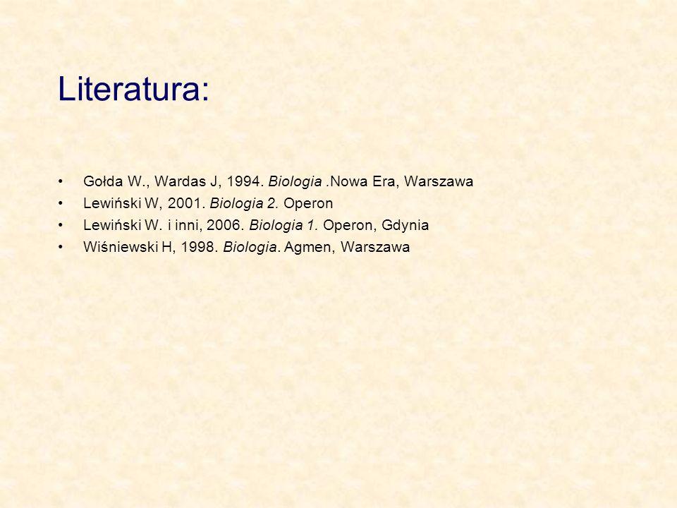 Literatura: Gołda W., Wardas J, 1994.Biologia.Nowa Era, Warszawa Lewiński W, 2001.