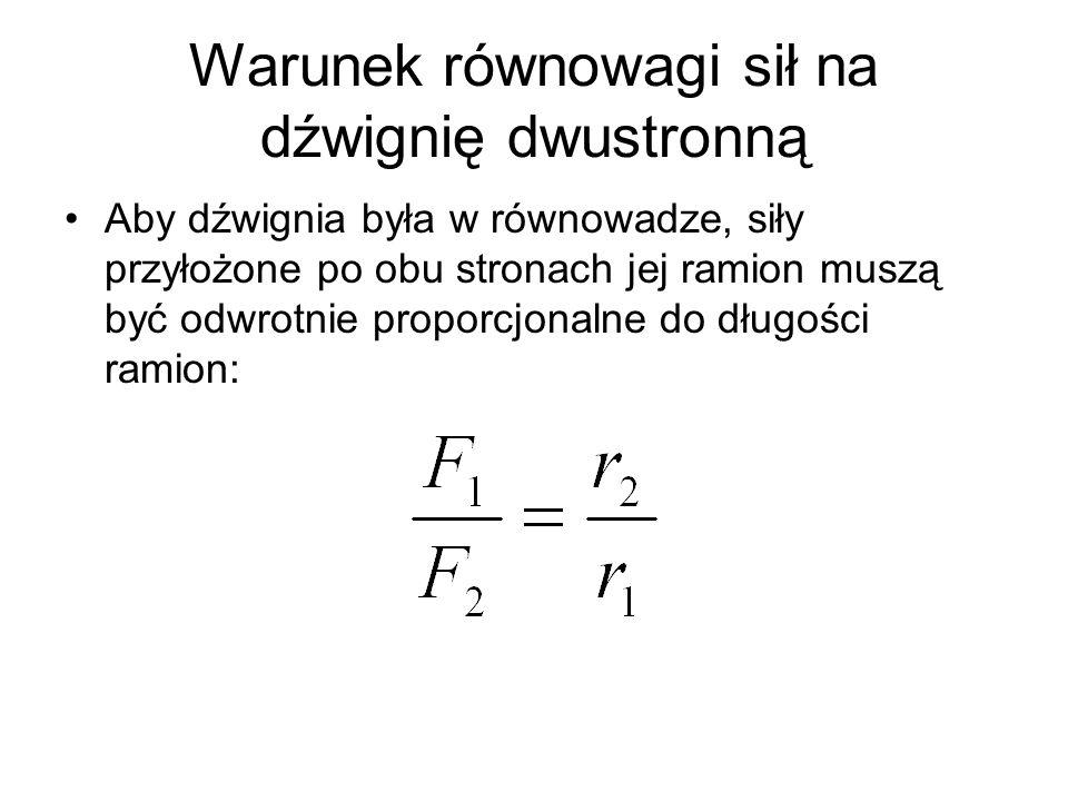 Warunek równowagi sił na dźwignię dwustronną Aby dźwignia była w równowadze, siły przyłożone po obu stronach jej ramion muszą być odwrotnie proporcjon