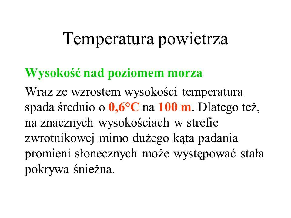 Temperatura powietrza Oddalenie od zbiorników wodnych Z reguły latem temperatura powietrza w pobliżu zbiorników wodnych jest niższa niż w głębi lądu.