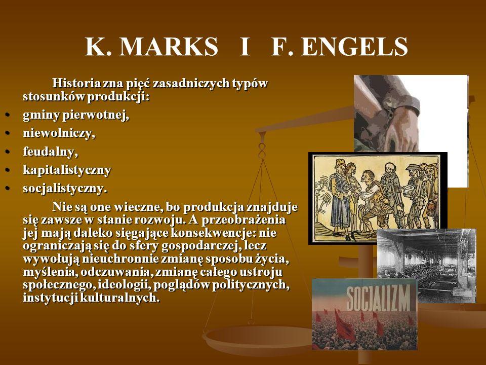 K. MARKS I F. ENGELS Historia zna pięć zasadniczych typów stosunków produkcji: Historia zna pięć zasadniczych typów stosunków produkcji: gminy pierwot