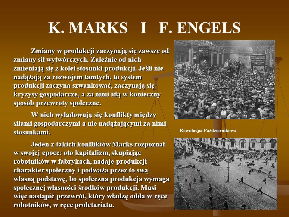 K. MARKS I F. ENGELS Zmiany w produkcji zaczynają się zawsze od zmiany sił wytwórczych. Zależnie od nich zmieniają się z kolei stosunki produkcji. Jeś