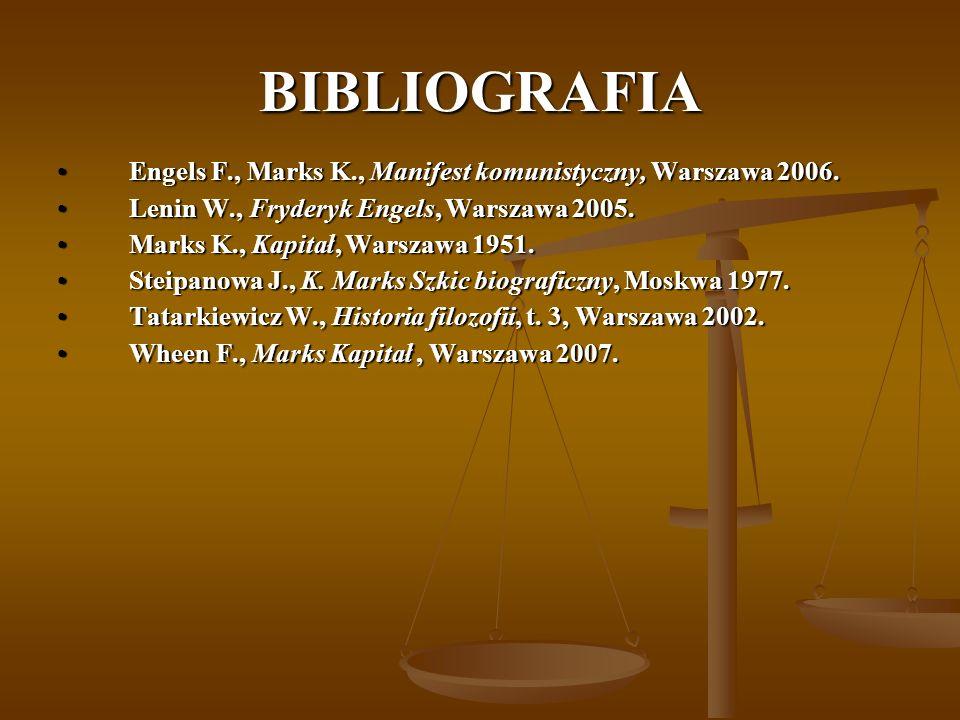 BIBLIOGRAFIA Engels F., Marks K., Manifest komunistyczny, Warszawa 2006.Engels F., Marks K., Manifest komunistyczny, Warszawa 2006. Lenin W., Fryderyk