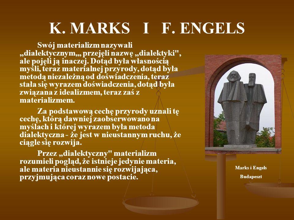 K. MARKS I F. ENGELS Swój materializm nazywali dialektycznym, przejęli nazwę dialektyki