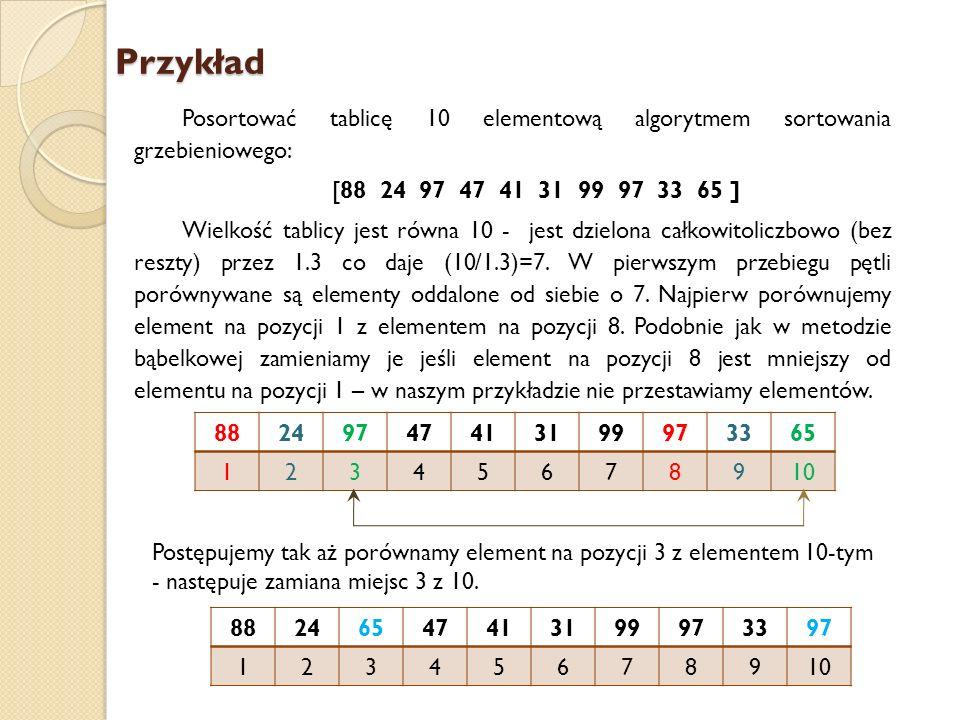 Przykład Posortować tablicę 10 elementową algorytmem sortowania grzebieniowego: [88 24 97 47 41 31 99 97 33 65 ] Wielkość tablicy jest równa 10 - jest