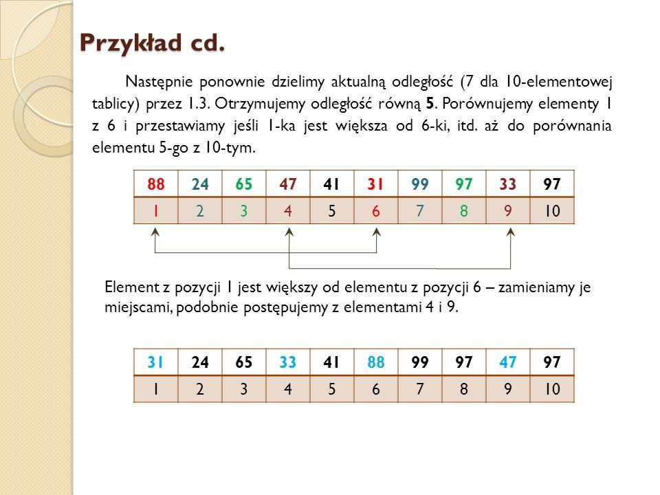 Przykład cd. Następnie ponownie dzielimy aktualną odległość (7 dla 10-elementowej tablicy) przez 1.3. Otrzymujemy odległość równą 5. Porównujemy eleme