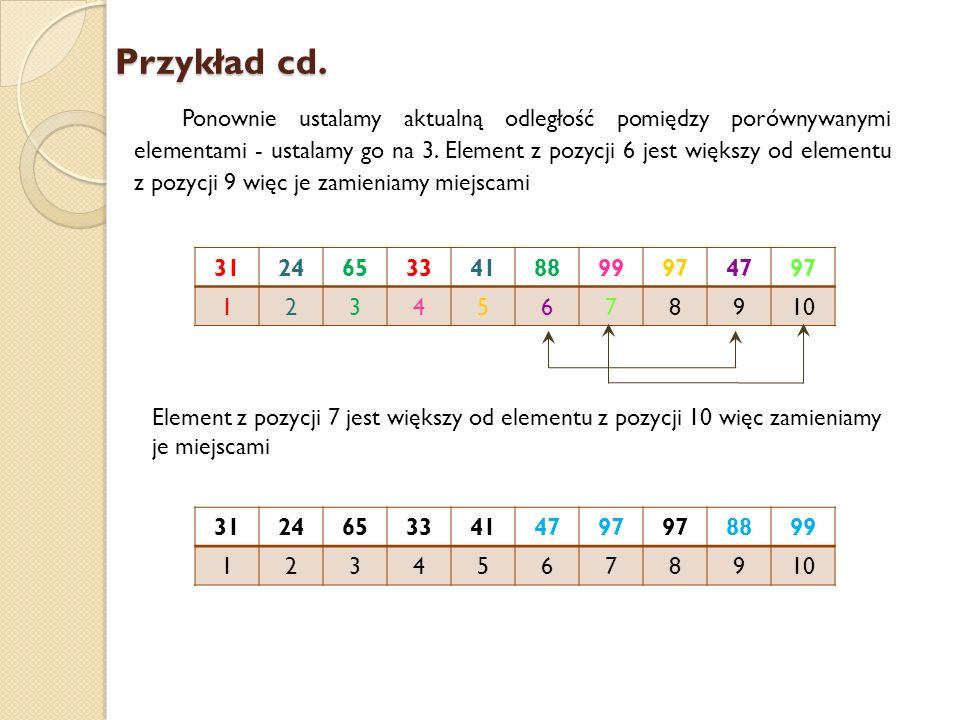 Przykład cd. Ponownie ustalamy aktualną odległość pomiędzy porównywanymi elementami - ustalamy go na 3. Element z pozycji 6 jest większy od elementu z