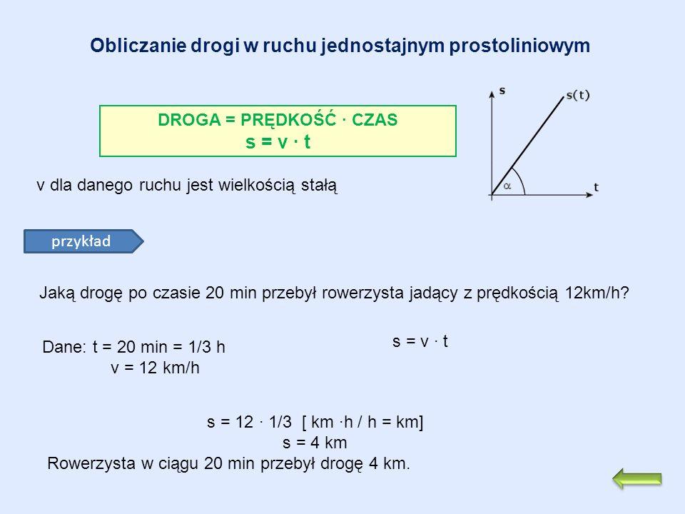 Obliczanie drogi w ruchu jednostajnym prostoliniowym DROGA = PRĘDKOŚĆ CZAS s = v t przykład Jaką drogę po czasie 20 min przebył rowerzysta jadący z pr