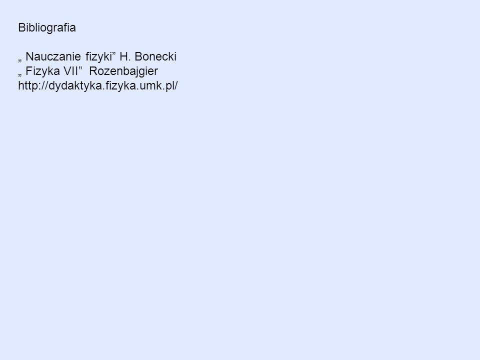 Bibliografia Nauczanie fizyki H. Bonecki Fizyka VII Rozenbajgier http://dydaktyka.fizyka.umk.pl/