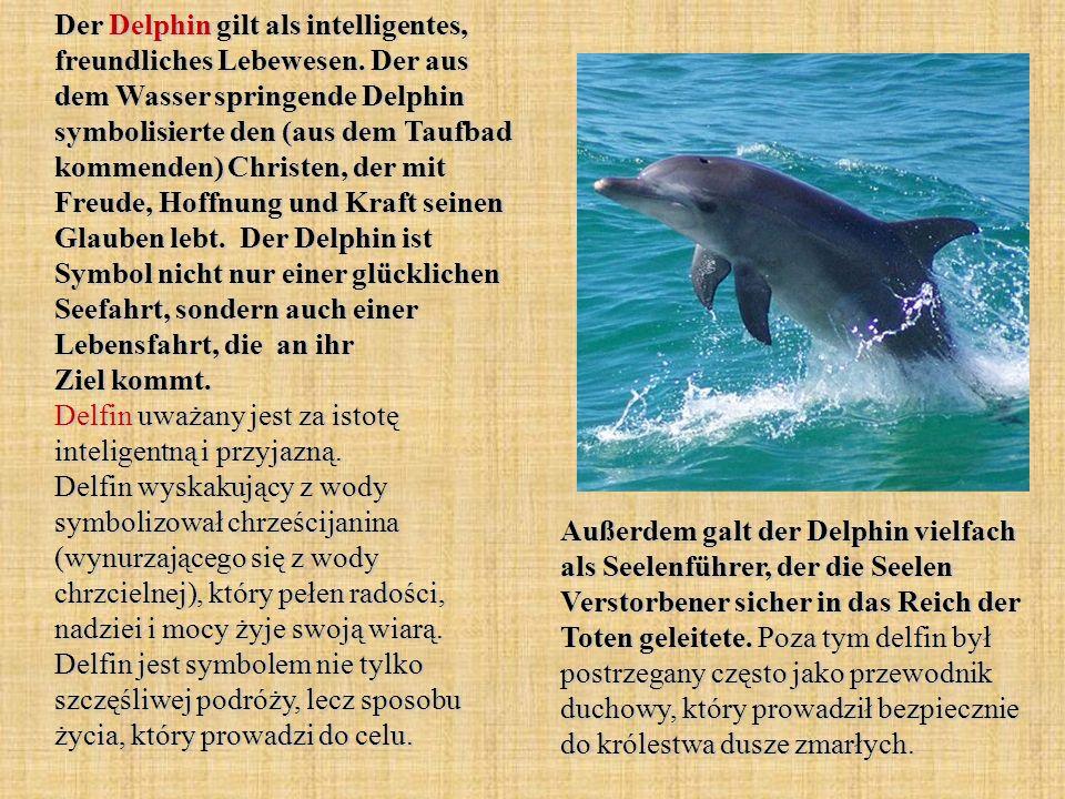 Der Delphin gilt als intelligentes, freundliches Lebewesen. Der aus dem Wasser springende Delphin symbolisierte den (aus dem Taufbad kommenden) Christ