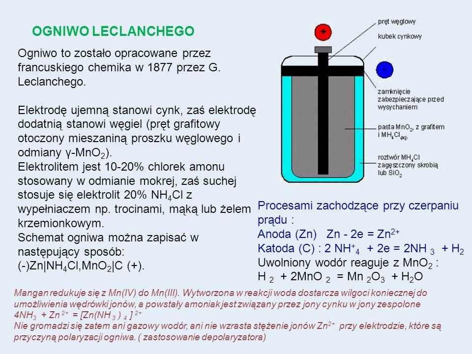 Ogniwo to zostało opracowane przez francuskiego chemika w 1877 przez G. Leclanchego. Elektrodę ujemną stanowi cynk, zaś elektrodę dodatnią stanowi węg