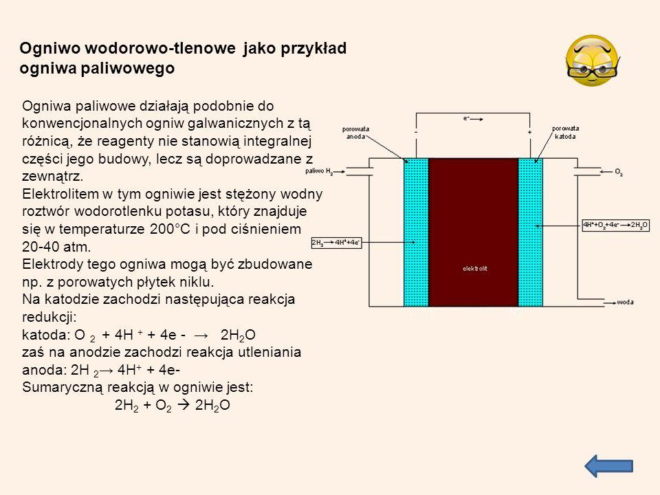 Ogniwa paliwowe działają podobnie do konwencjonalnych ogniw galwanicznych z tą różnicą, że reagenty nie stanowią integralnej części jego budowy, lecz