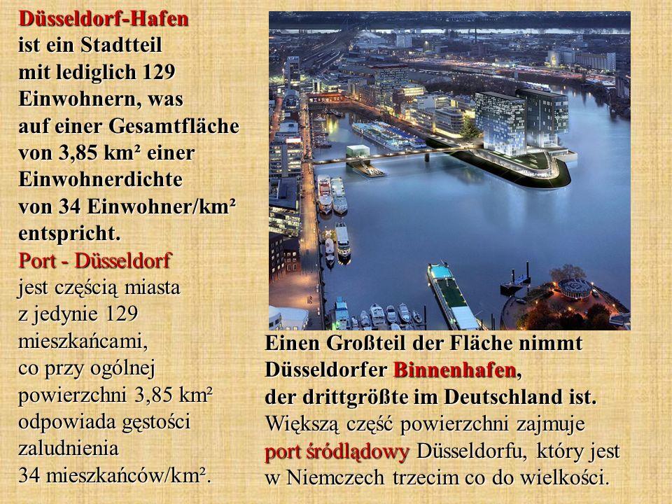 Einen Großteil der Fläche nimmt Düsseldorfer Binnenhafen, der drittgrößte im Deutschland ist. Większą część powierzchni zajmuje port śródlądowy Düssel