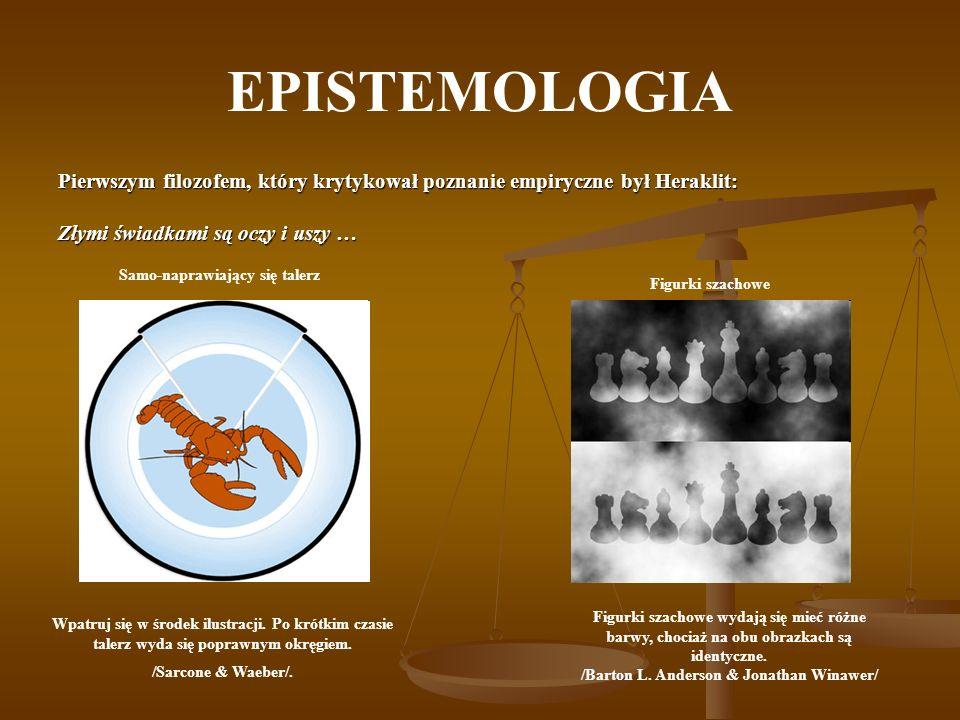 EPISTEMOLOGIA Pierwszym filozofem, który krytykował poznanie empiryczne był Heraklit: Złymi świadkami są oczy i uszy … Samo-naprawiający się talerz Wp