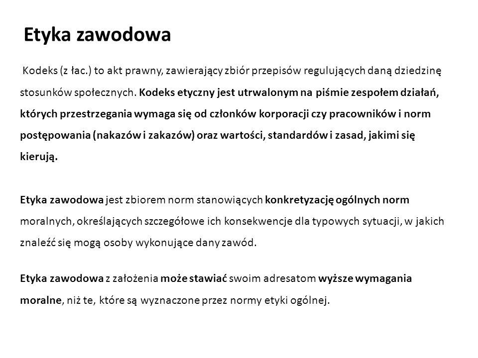 Kodeks (z łac.) to akt prawny, zawierający zbiór przepisów regulujących daną dziedzinę stosunków społecznych. Kodeks etyczny jest utrwalonym na piśmie