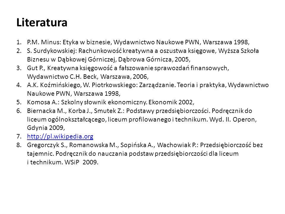 1.P.M. Minus: Etyka w biznesie, Wydawnictwo Naukowe PWN, Warszawa 1998, 2.S. Surdykowskiej: Rachunkowość kreatywna a oszustwa księgowe, Wyższa Szkoła