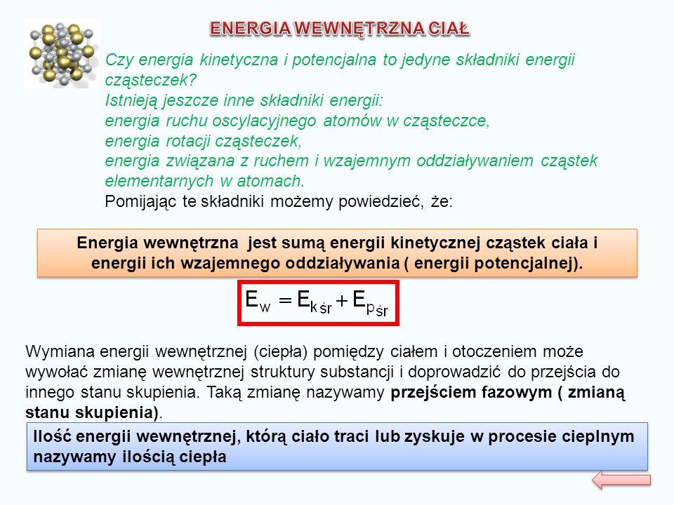 Energia wewnętrzna jest sumą energii kinetycznej cząstek ciała i energii ich wzajemnego oddziaływania ( energii potencjalnej). Energia wewnętrzna jest