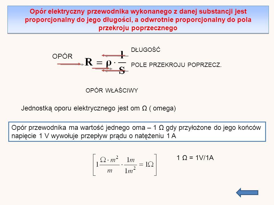Opór elektryczny przewodnika wykonanego z danej substancji jest proporcjonalny do jego długości, a odwrotnie proporcjonalny do pola przekroju poprzecznego POLE PRZEKROJU POPRZECZ.