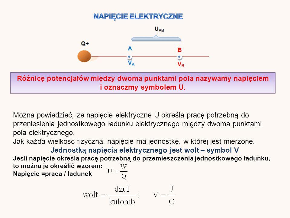 Różnicę potencjałów między dwoma punktami pola nazywamy napięciem i oznaczmy symbolem U.