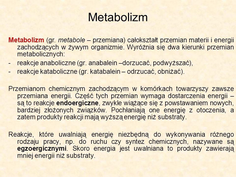 Metabolizm Metabolizm (gr. metabole – przemiana) całokształt przemian materii i energii zachodzących w żywym organizmie. Wyróżnia się dwa kierunki prz
