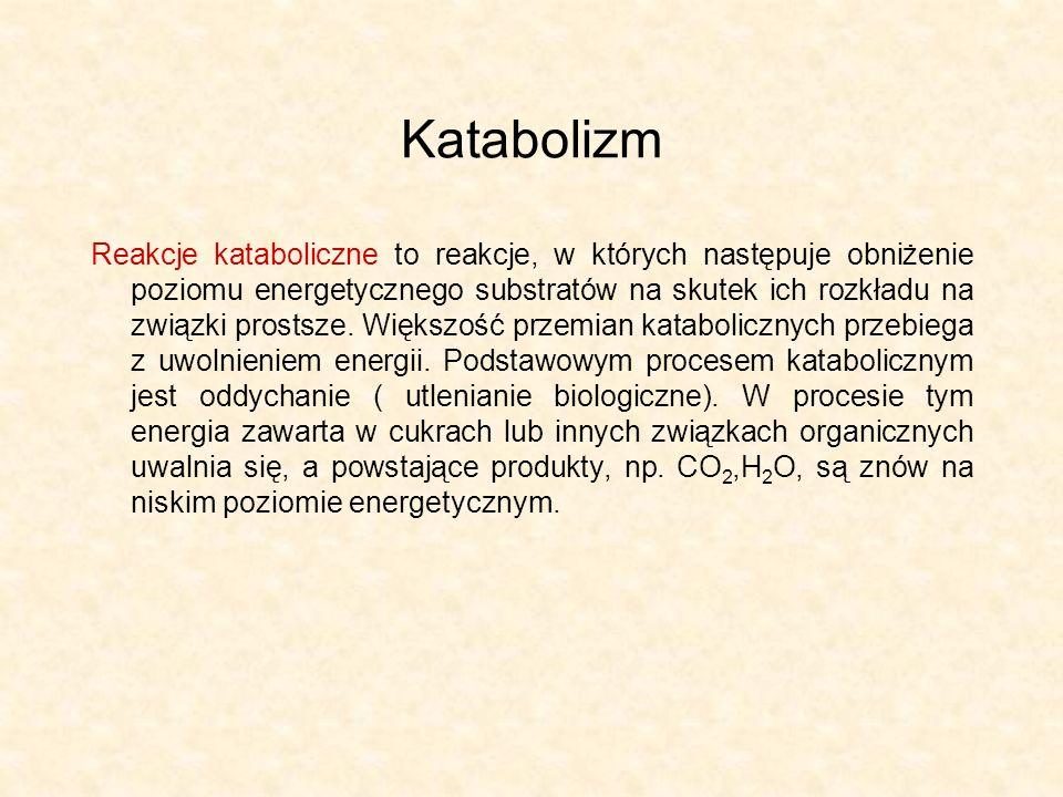 Katabolizm Reakcje kataboliczne to reakcje, w których następuje obniżenie poziomu energetycznego substratów na skutek ich rozkładu na związki prostsze